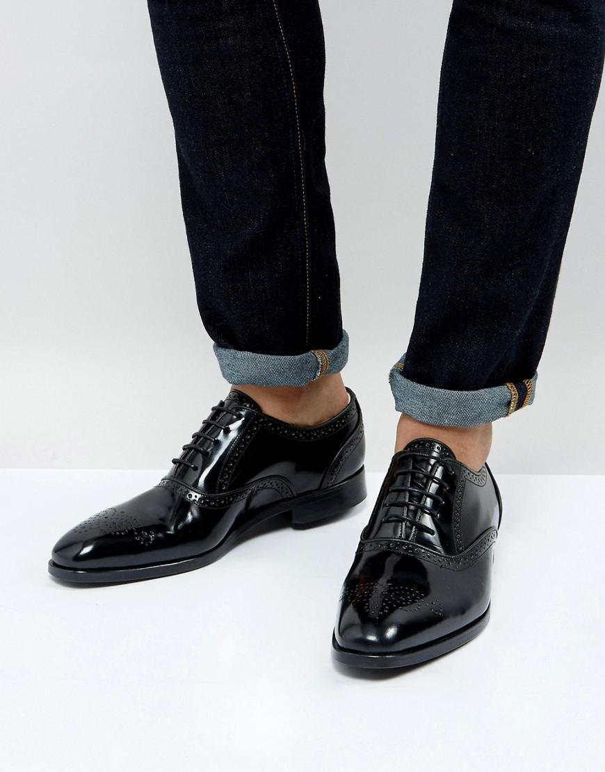 ps paul smith gilbert high shine brogues in black