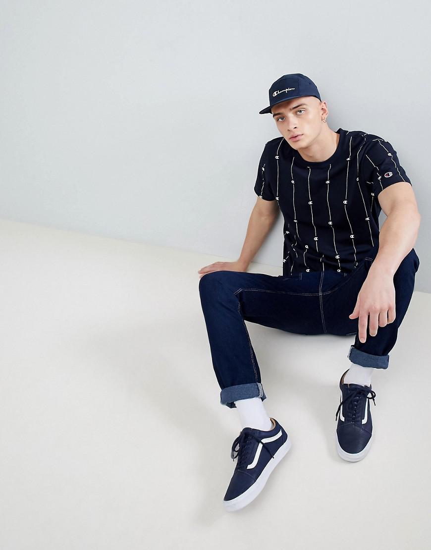Fashion Clothing Champion Tshirt With Stripe Logo Print