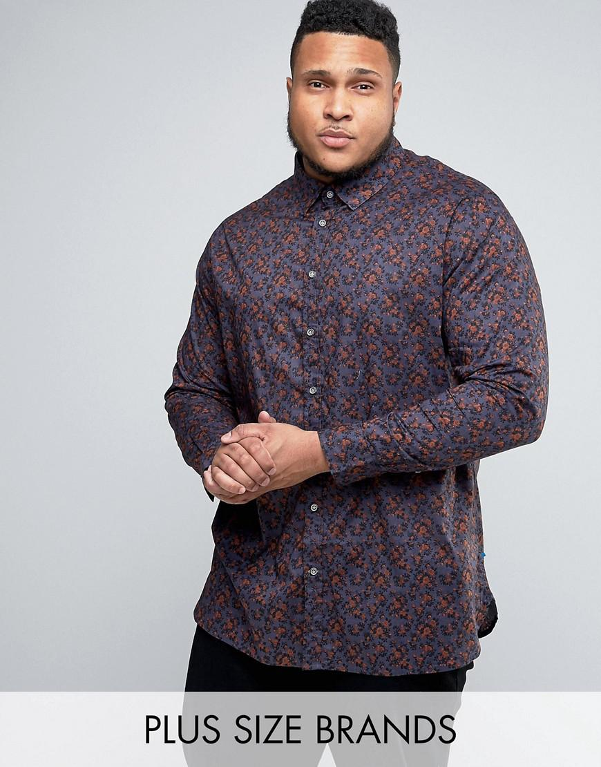 duke plus floral shirt in multi