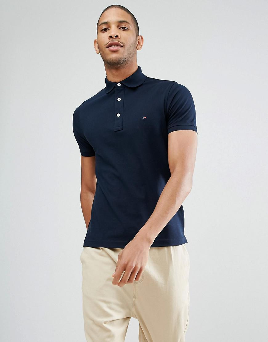tommy hilfiger slim fit polo in navy