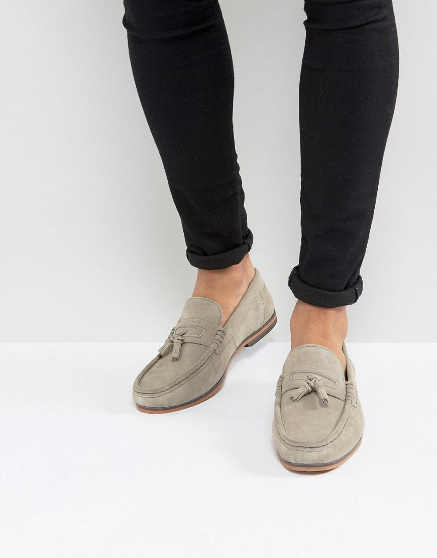 asos loafers in gray suede with tassel