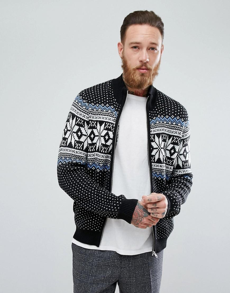 asos heavyweight fairisle track jacket in black