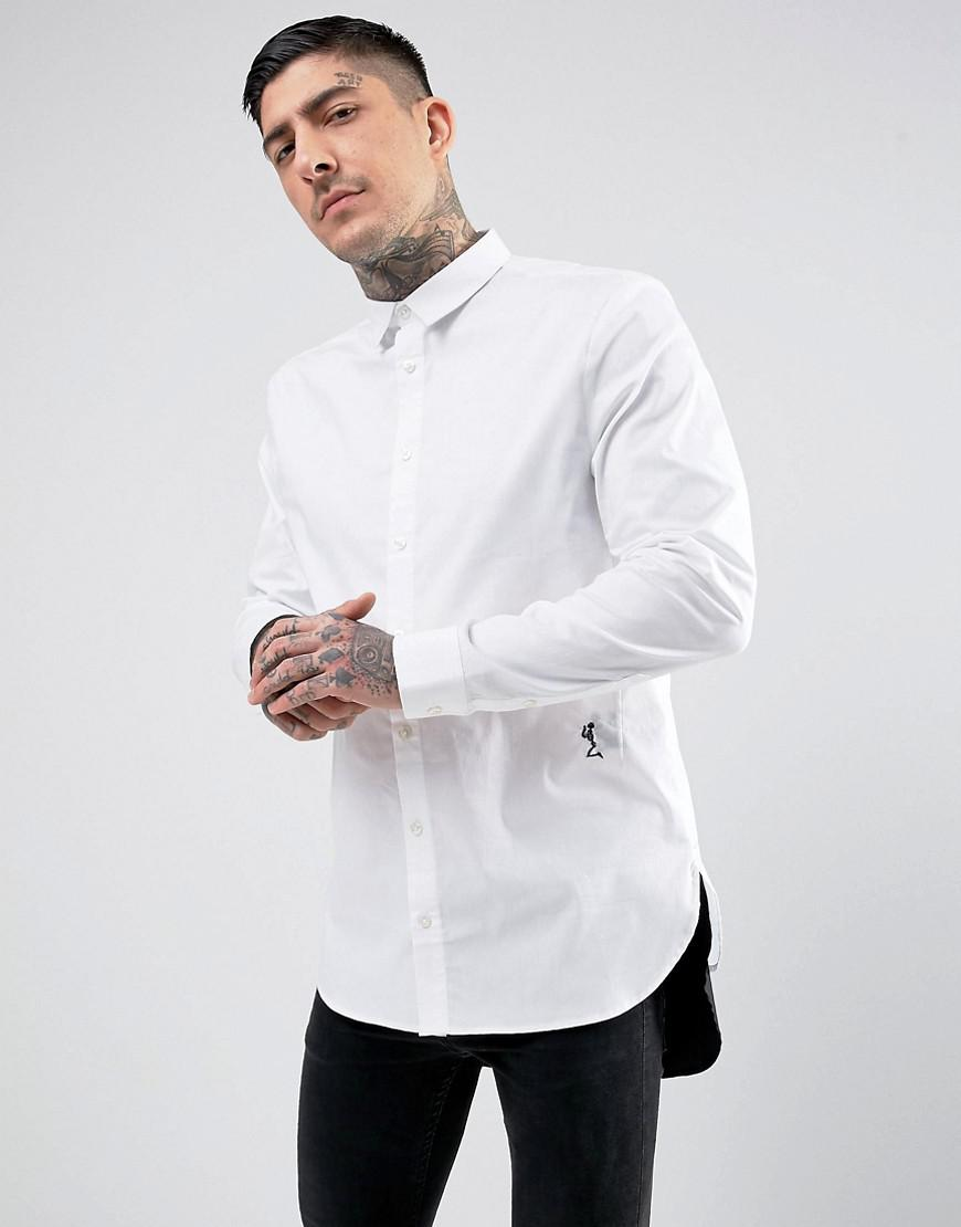religion longline skinny smart shirt with contrast hem
