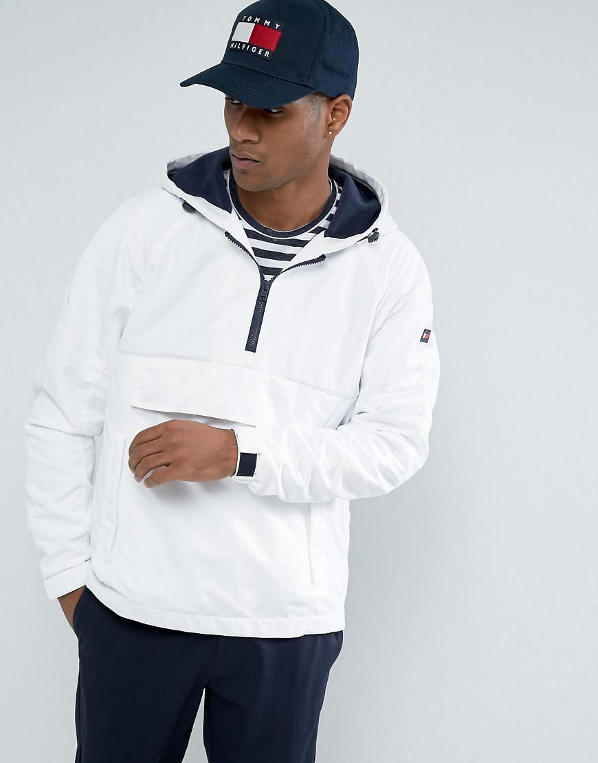 8a1c62734d36b Fashion clothing | Tommy Hilfiger Denim Overhead Jacket Icon Stripe Hood In  White | Modysta