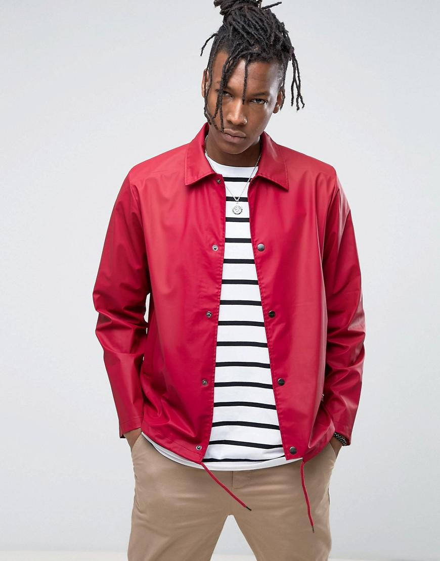 rains waterproof coach jacket in scarlet