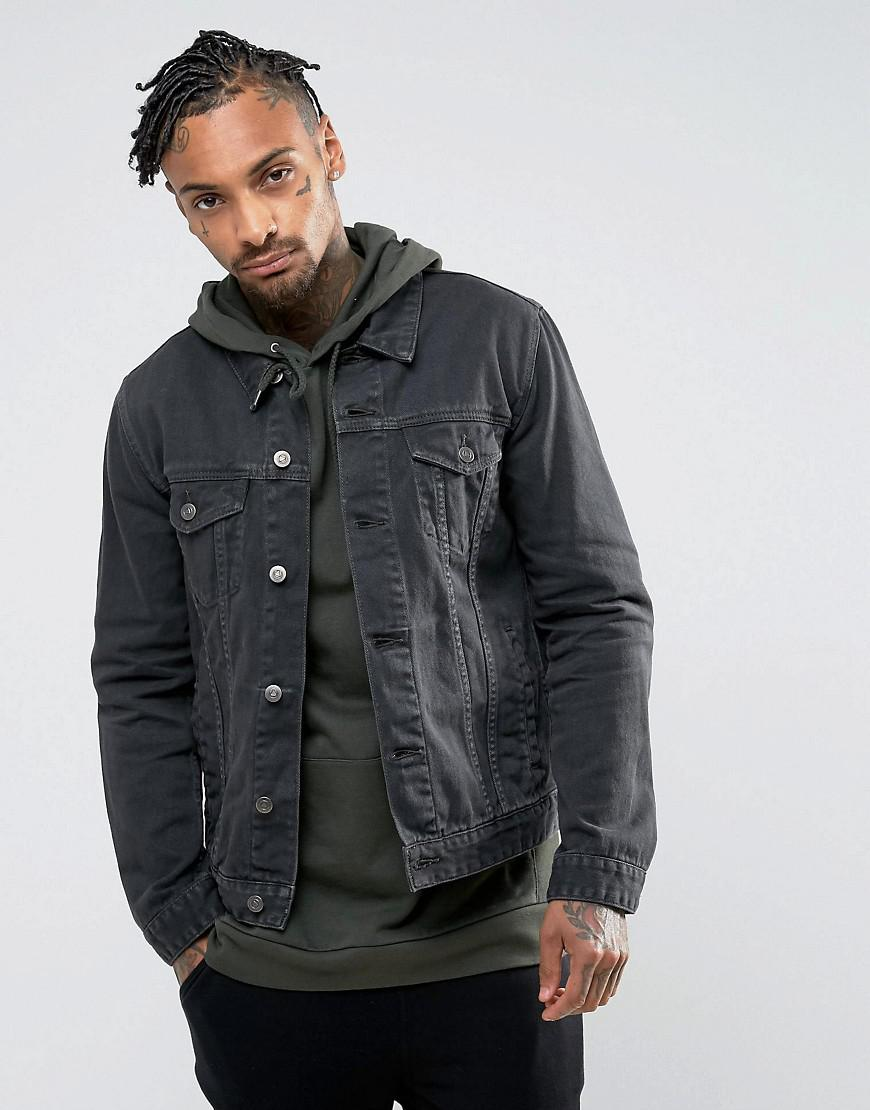asos denim jacket in washed charcoal