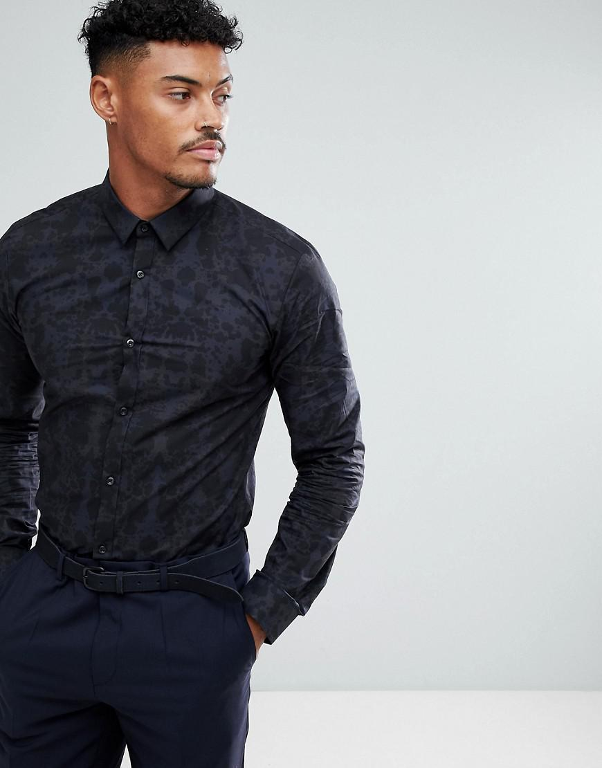 hugo extra slim fit camo print shirt in navy