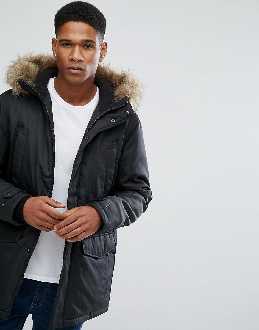 jack & jones core parka with fleece lined hood and faux fur trim