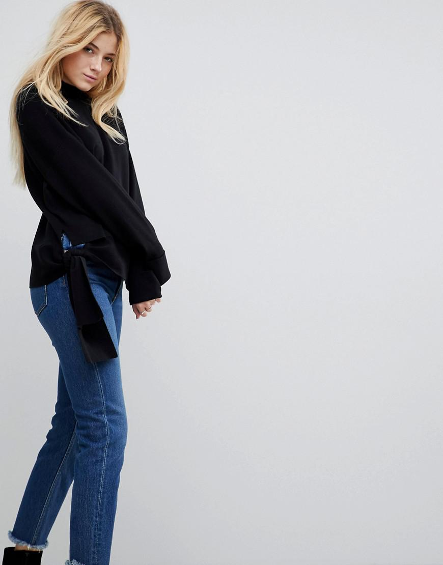 asos sweater with high neck and hem detail