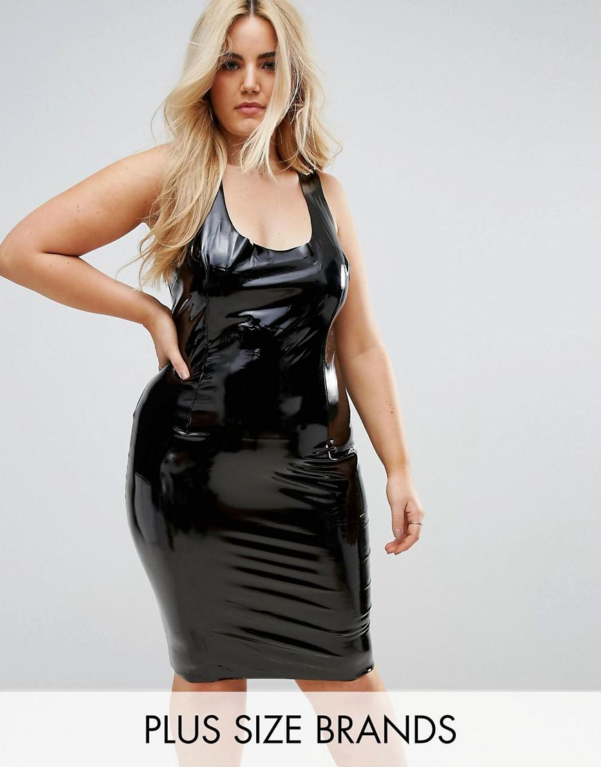 club l plus high shine bodycon dress
