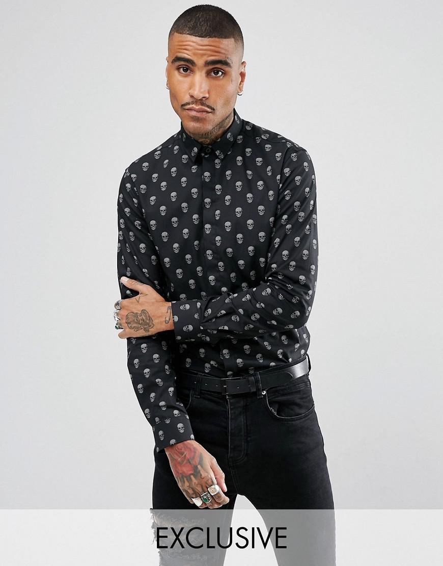 noose & monkey skinny smart shirt in skull print