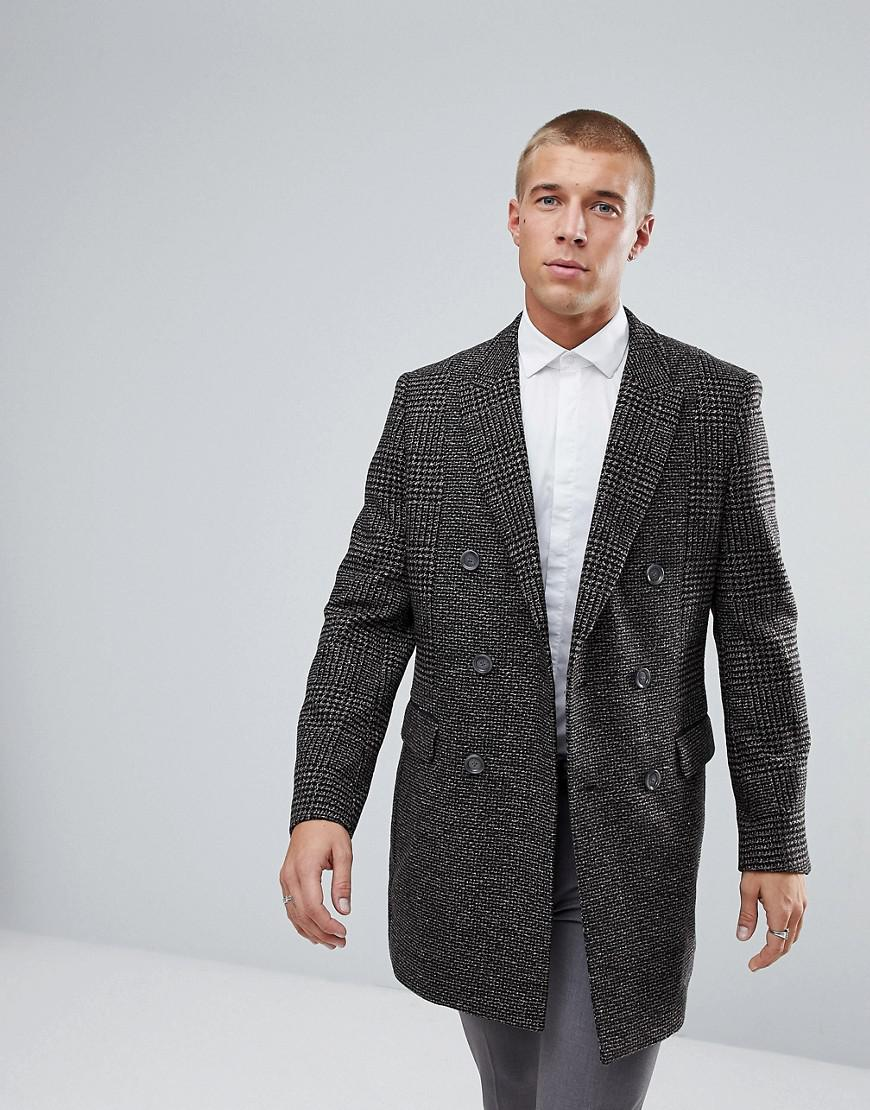 river island check overcoat in brown