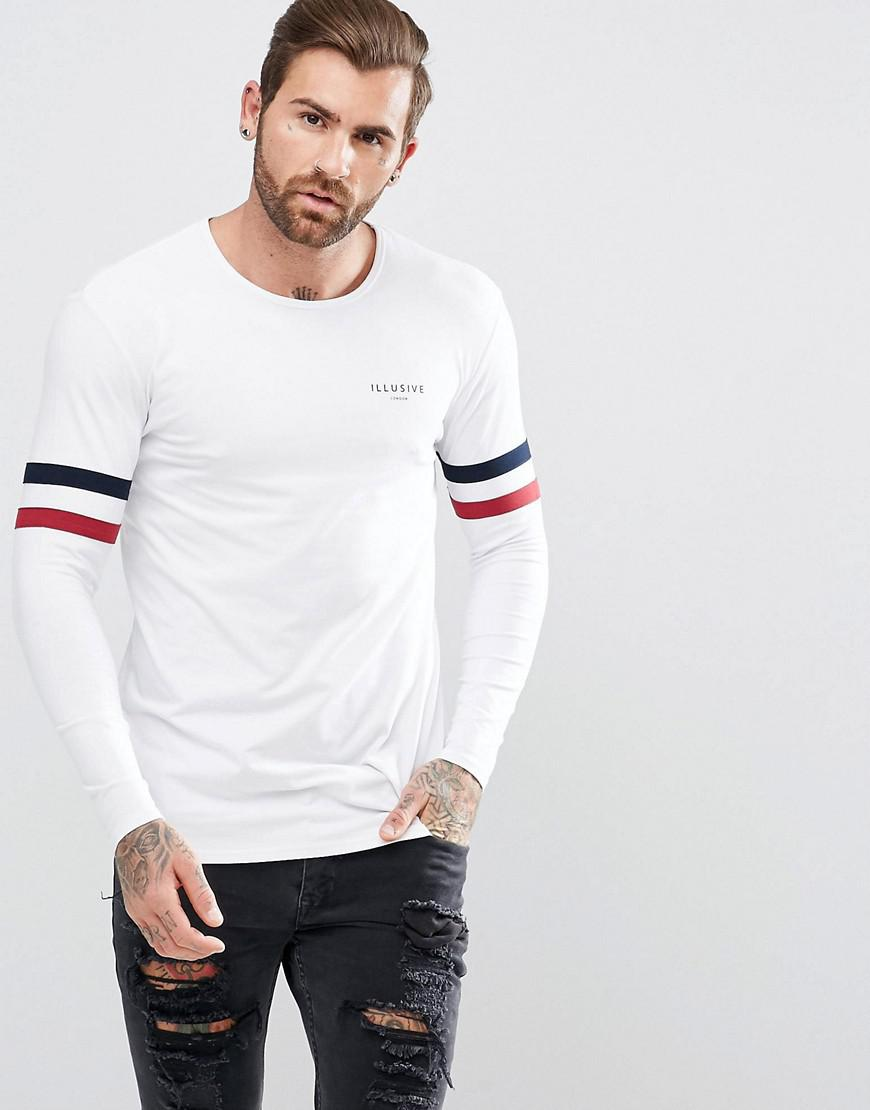 illusive london muscle long sleeve t-shirt in white with stripes