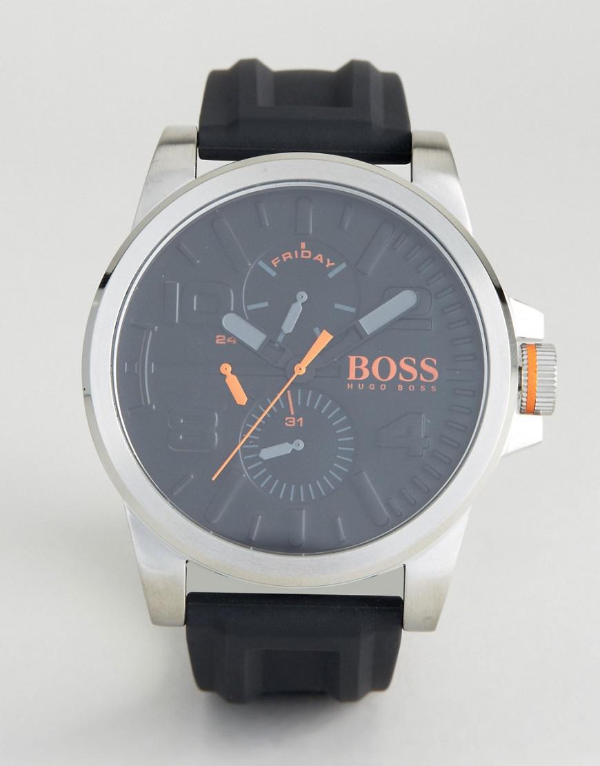 boss orange by hugo boss detroit sport rubber watch in black 1550006