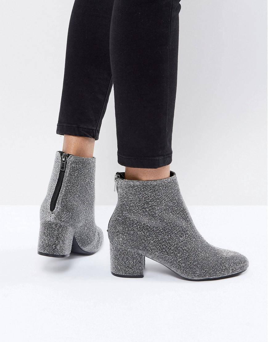 new look square toe glitter block heel boot