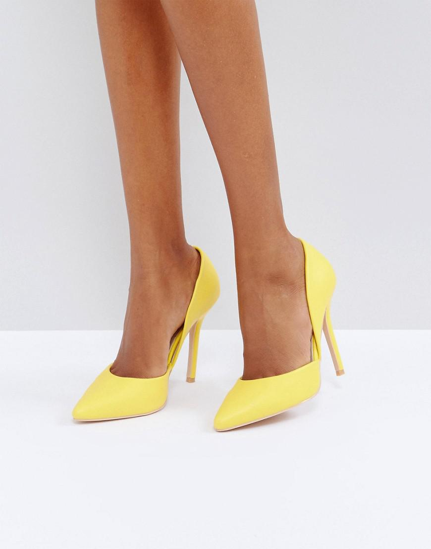 glamorous d orsay yellow cut out pumps
