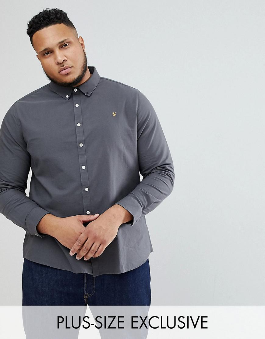 farah plus brewer slim fit oxford shirt in charcoal