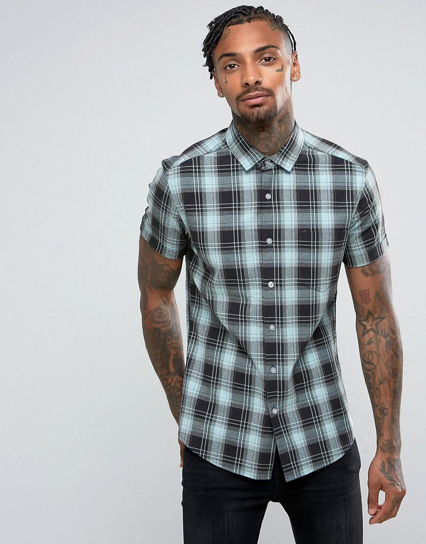 asos design slim check shirt in blue