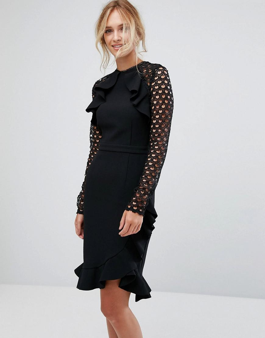 true decadence tall wrap front dress with lace sleeve detail