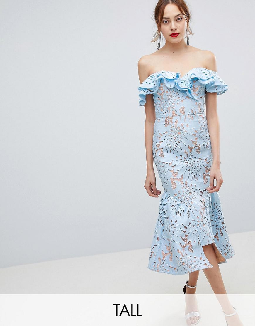 jarlo tall frill cutwork lace off shoulder stepped hem midi dress