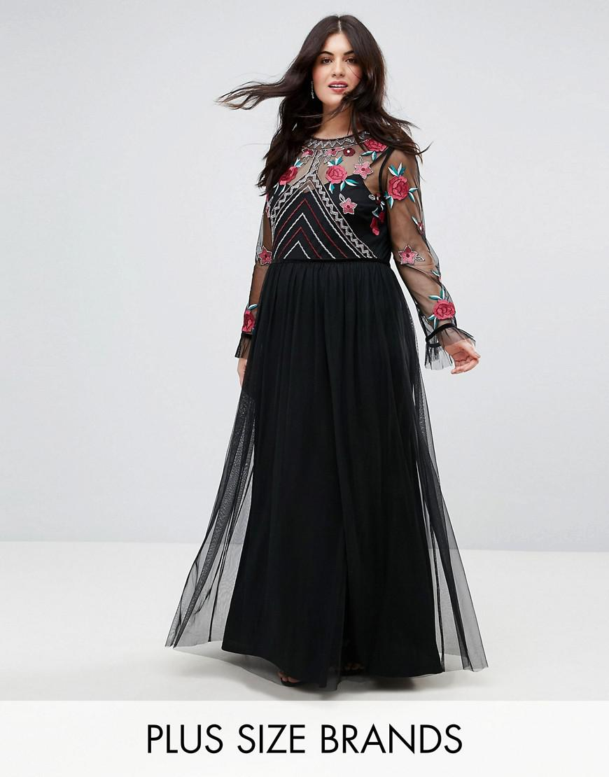 frock and frill plus premium embroidered high neck long sleeve maxi dress