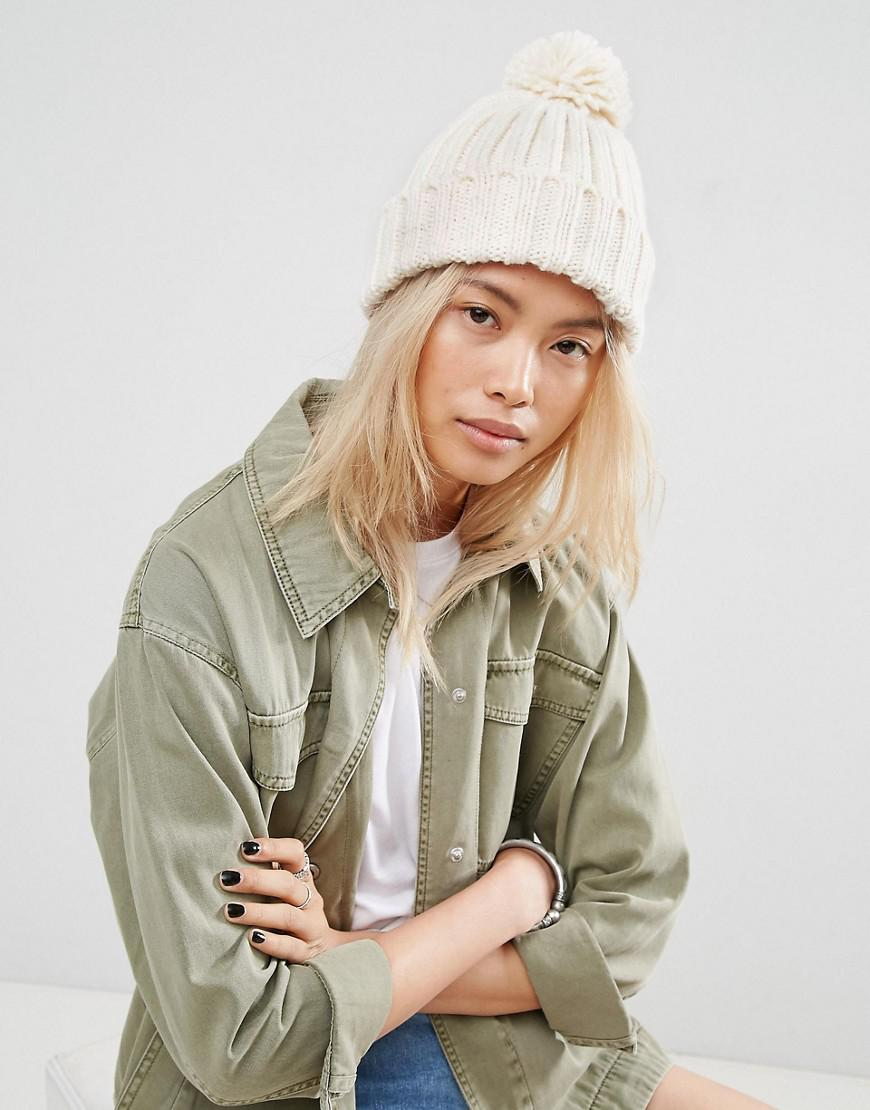 asos knitted pom beanie with turn up
