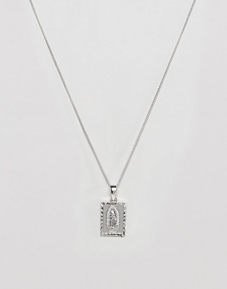 chained & able silver mini guadalupe tag necklace in silver