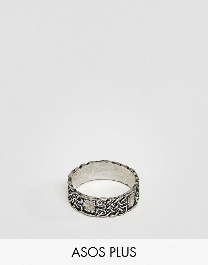 asos plus ring in silver with celtic design
