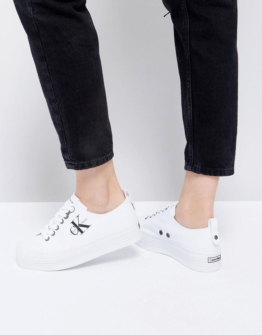 Fashion Shoes Calvin Klein Zolah White Canvas Flatform