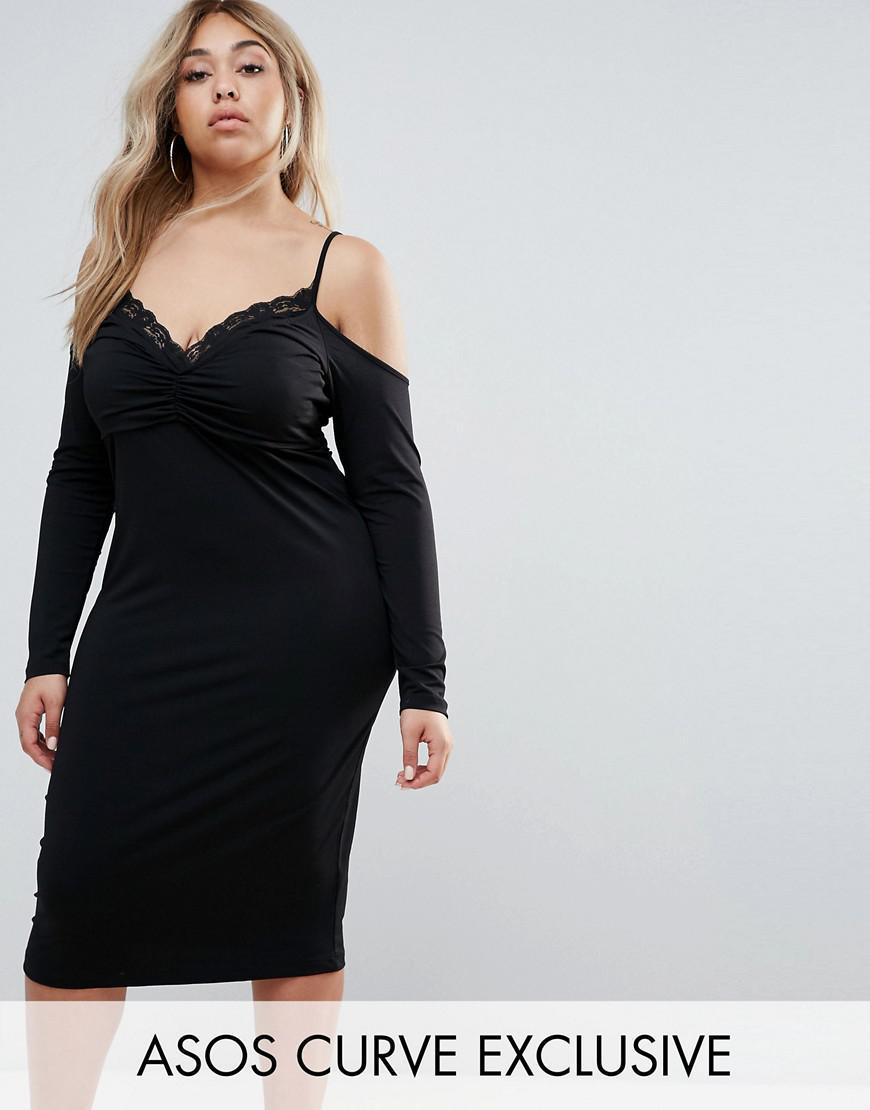 asos curve crepe midi pencil dress with cold shoulder and lace trim