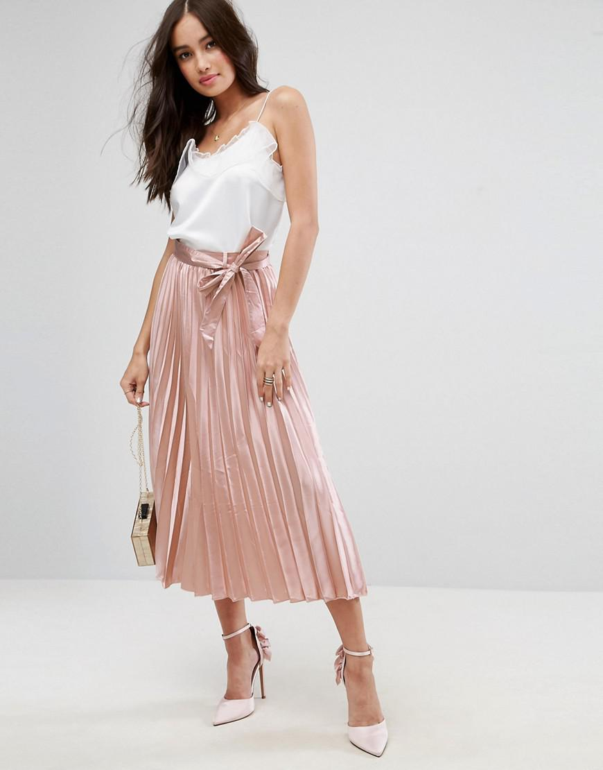 asos satin pleated midi skirt with belt