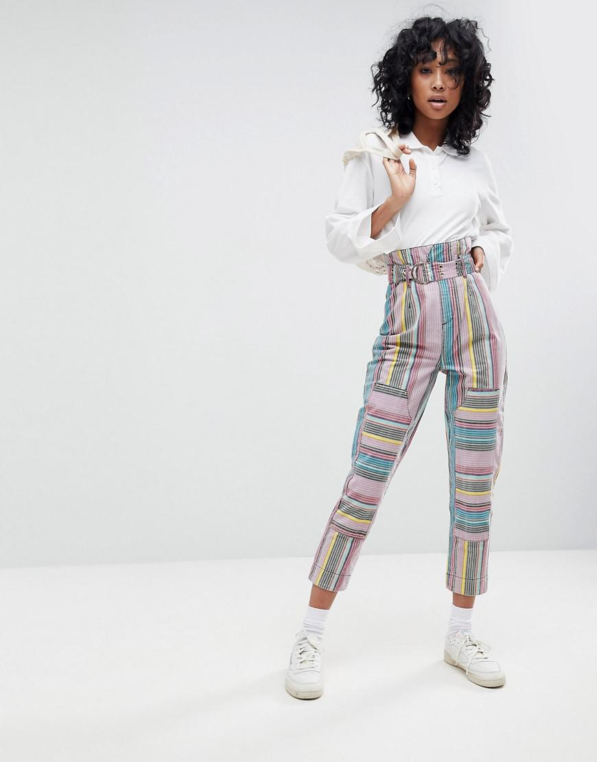asos stevie high waisted peg pants in stripe