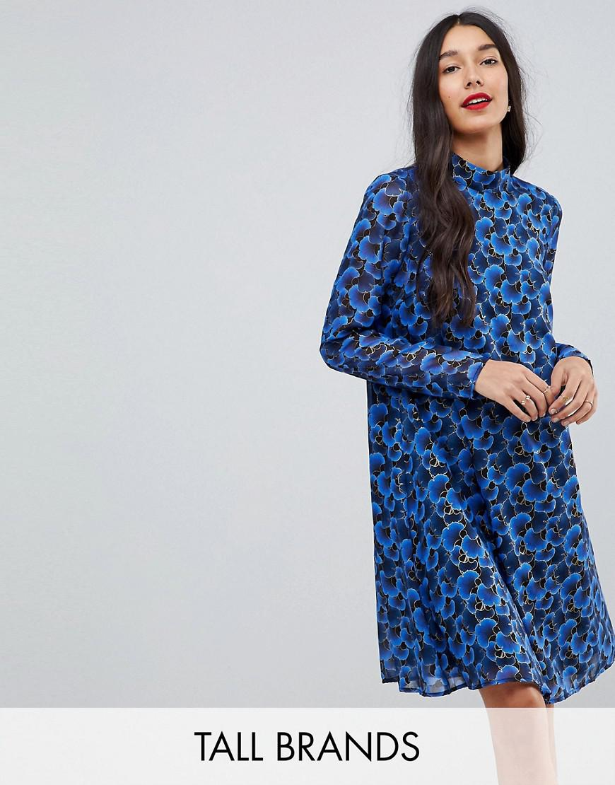 y.a.s tall floral high neck swing dress