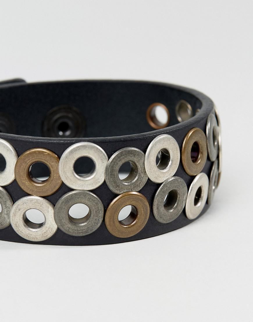 diesel a-quirk eyelet bracelet in black