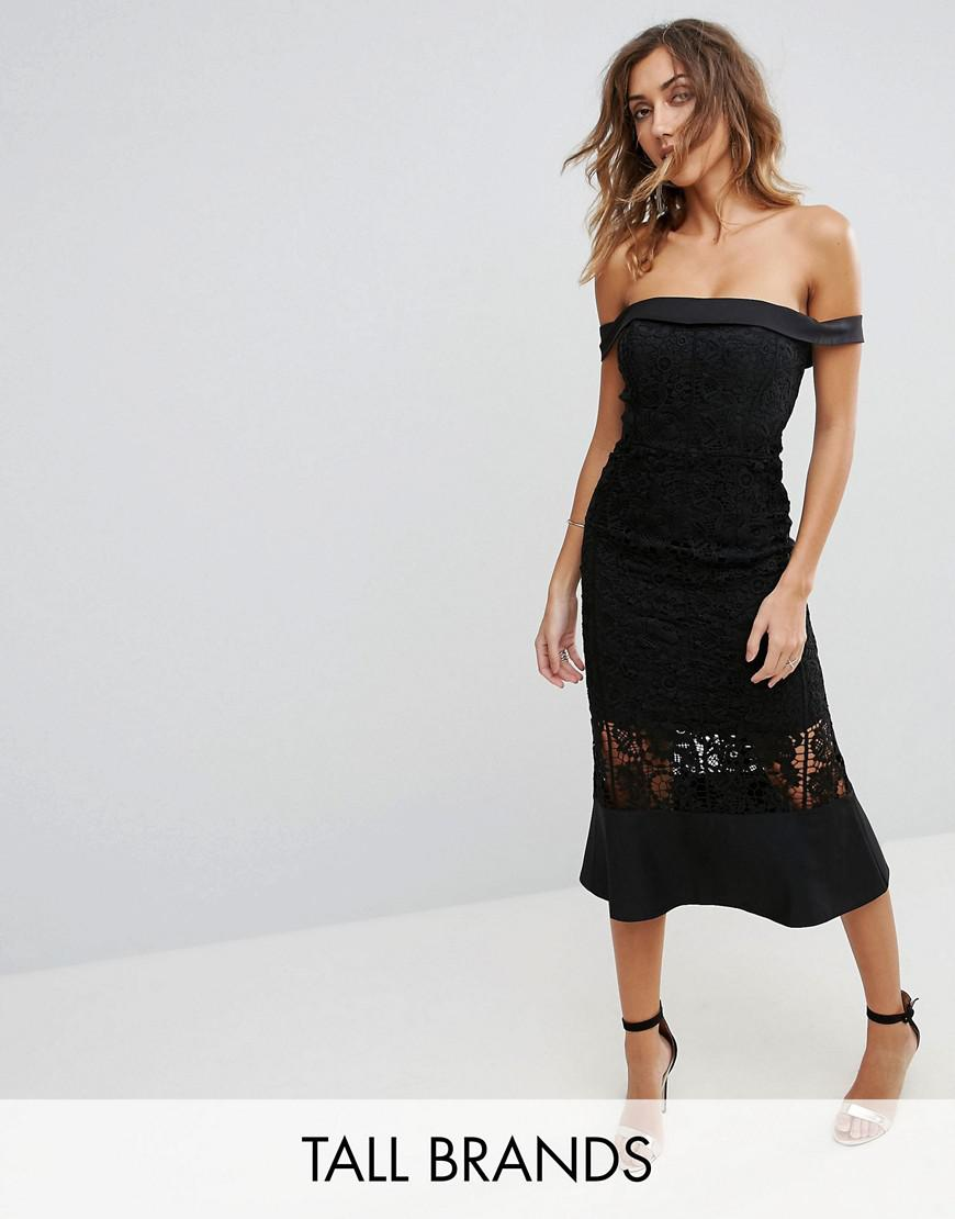 jarlo tall off shoulder midi dress with lace cutwork insert