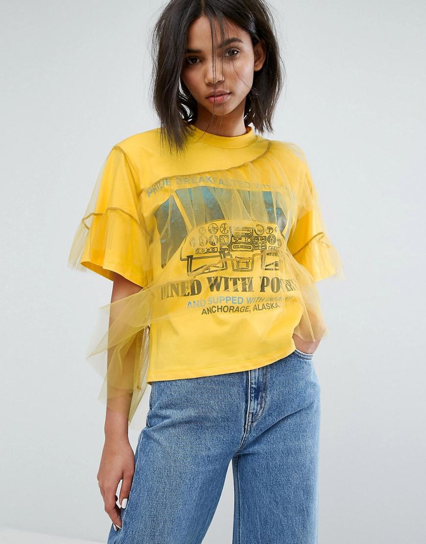 stylenanda oversized t-shirt with ruffle mesh overlay