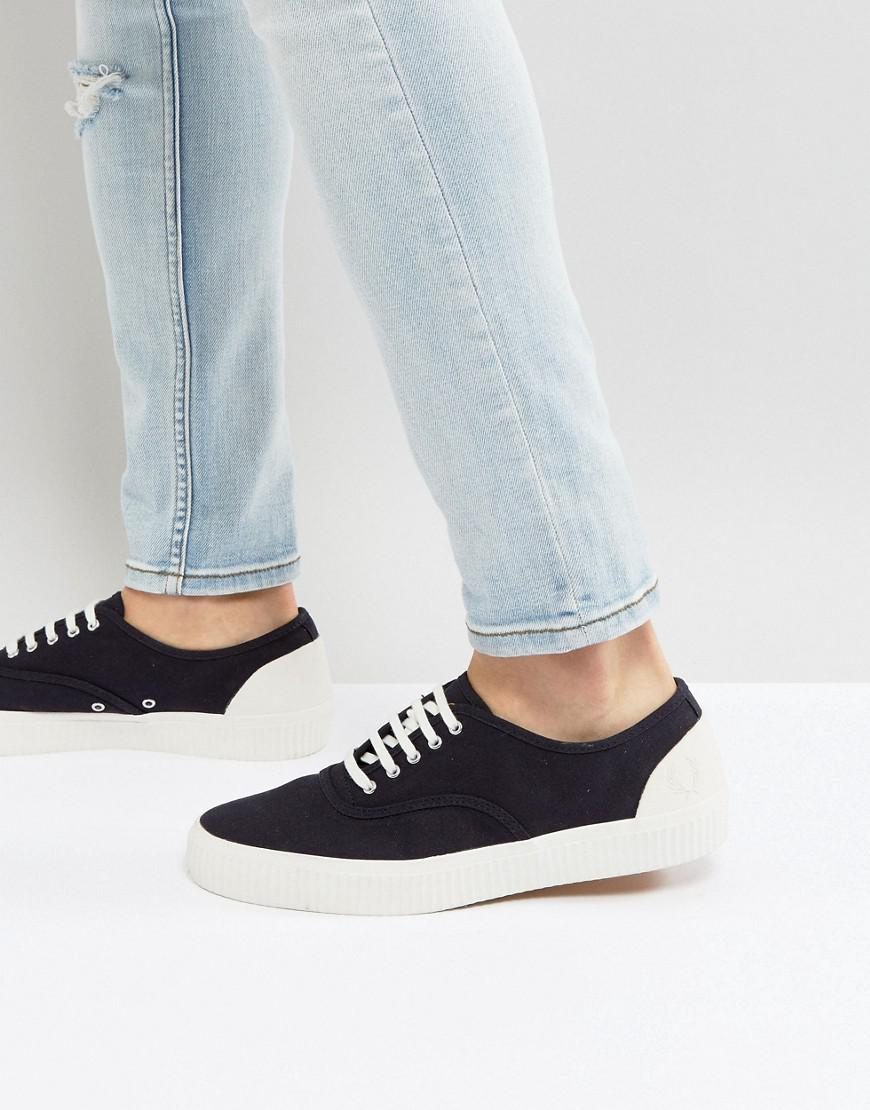 fred perry barson canvas sneakers in navy