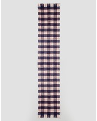 superdry navy and red check scarf