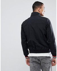 tommy jeans bomber jacket icon zip tape in black