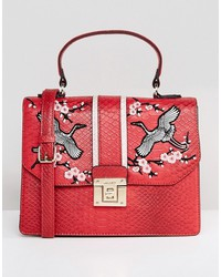 aldo embroidered top handle bag with cross body strap