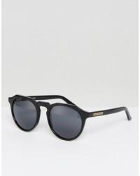 hawkers warwick polarised round sunglasses in black