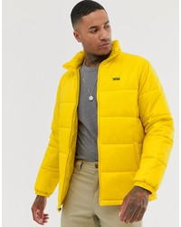 vans small logo puffer jacket in yellow