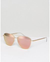 hawkers ace polarised aviator sunglasses in rose gold