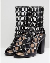 raid della black caged studded boots