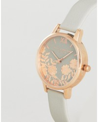 olivia burton gray lace detail midi leather watch