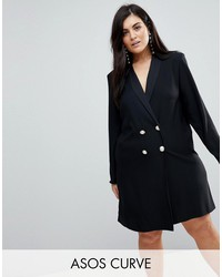 asos curve ultimate tux mini dress with pearl buttons