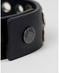 diesel a-quirk eyelet bracelet in black