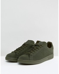 adidas originals stan smith primeknit sneakers in green bz0120