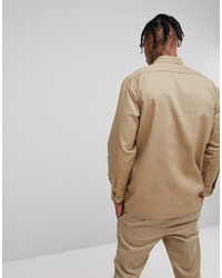dickies long sleeve work shirt in stone