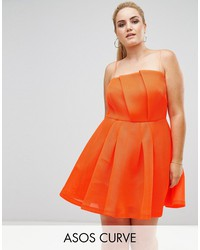 asos curve neon bonded mesh fan front mini dress